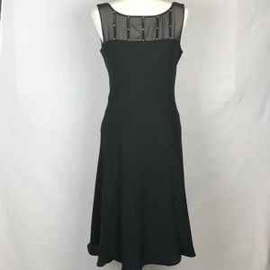 Evan Picone Black Rhinestones Midi Dress Size 10
